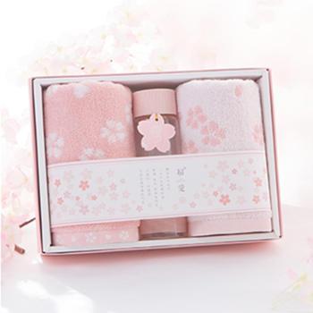 初爱樱花系列两条纯棉毛巾水杯礼盒套装 柔软吸水耐用儿童成人全棉毛巾