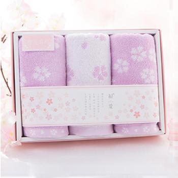 初爱樱花系列三条纯棉毛巾礼盒精装 柔软吸水耐用儿童成人全棉毛巾