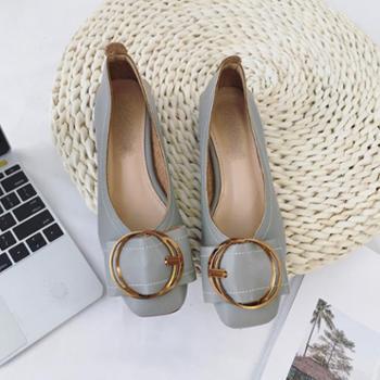 百旅Bailv秋新款韩版浅口方头女鞋皮带金属扣低跟单鞋百搭舒适奶奶鞋