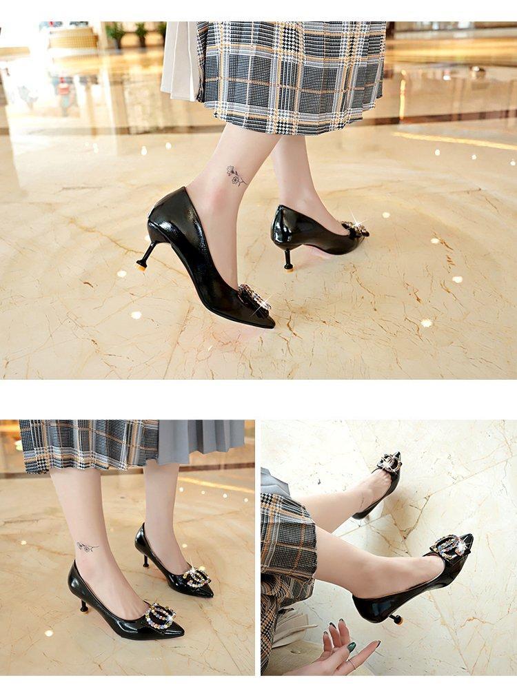 Bailv黑色高跟鞋女5cm性感水钻7cm尖头细跟韩版百搭一字扣单鞋