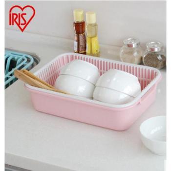 爱丽思IRIS 厨房家用双层漏盘洗水果沥水篮 塑料洗菜盆KM-25AG双层沥水篮