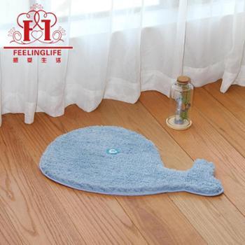 感受生活家居卡通动物超细纤维涤纶浴室防滑地垫脚垫手工地毯*