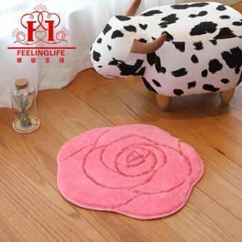 感受生活大小圆形玫瑰超细纤维浴室防滑地垫脚垫手工地毯