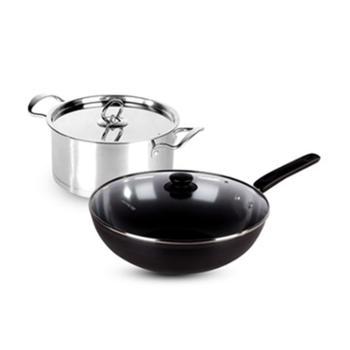九阳(Joyoung)锅具两件套T0502-C(炒锅+汤锅)精铁锅不粘锅