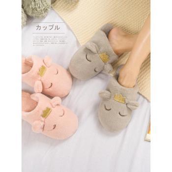 棉拖鞋女冬新款室内可爱居家拖鞋包跟防滑厚底月子卡通毛拖鞋