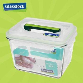Glasslock韩国进口手提钢化玻璃饭盒微波炉冰箱保鲜盒密封盒MHRB250/2.5L-2500ml-深蓝色