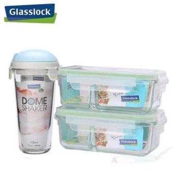 Glasslock韩国进口钢化玻璃饭盒微波炉隔层保鲜盒3件套赠便当包-1500ml-天蓝色