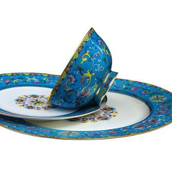 景德镇骨瓷餐具套装中式国宴餐具夫人瓷宫廷珐琅彩陶瓷结婚礼
