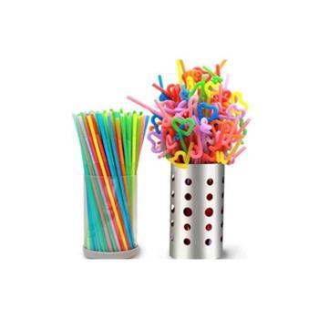 一次性吸管彩色艺术可弯曲拉伸吸管饮料果汁可乐吸管彩色透明吸管一包100彩色加100透明