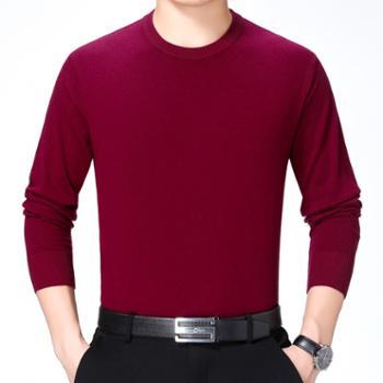 寻爵长袖衬衫圆领时尚休闲羊绒T恤衫