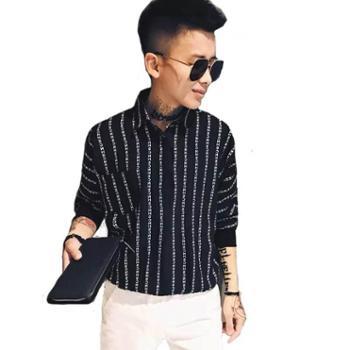 【中袖衬衣】夏季透气五分袖衬衫男印花宽松袖社会小伙衬衣潮
