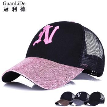 女士新款时尚亮沿鸭舌帽夏季户外防晒韩版遮阳帽刺绣鸭舌帽子