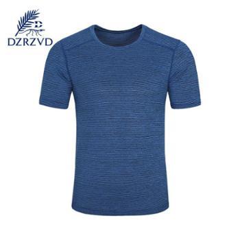 Dzrzvd 夏季阳离子短袖男圆领速干衣轻便吸湿快干运动骑行弹力T恤男装
