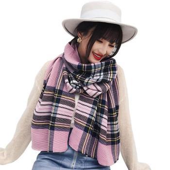 韩版秋冬季新款女士围巾彩色格子褶皱两用大披肩加长保暖围脖