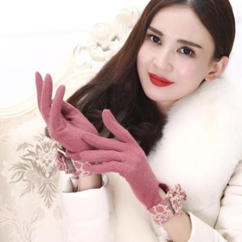 韩国版秋冬季羊毛手套女士新款蝴蝶结双层加绒保暖全指手套可触屏