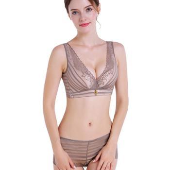 范婷高端巴黎诱惑蕾丝美背文胸无钢圈性感聚拢调整型胸罩内衣套装