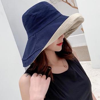 韩版时尚防晒遮阳帽女春夏季遮脸大沿渔夫帽出游可折叠百搭盆帽潮