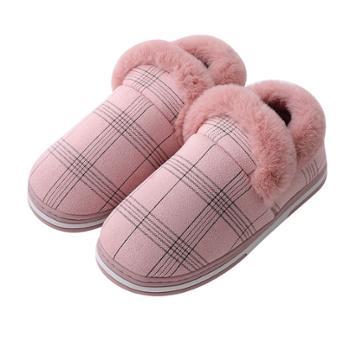 宝信 格子毛条磨砂绒室内外居家男女情侣木地板保暖包根棉鞋月子棉鞋