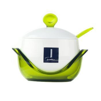 建厦元宝陶瓷调味盒创意厨房调味罐多功能储物罐带盖带勺调味盒J-448
