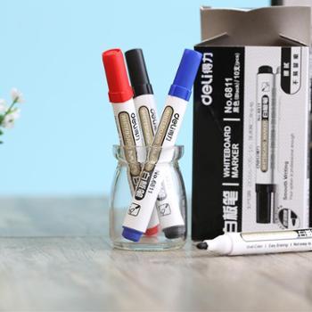 10支得力6811白板笔可擦水性黑记号笔书写展示板笔大容量办公用品 10支装
