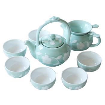 苏氏陶瓷青瓷茶具小提梁茶壶茶杯10头套装礼盒茶具