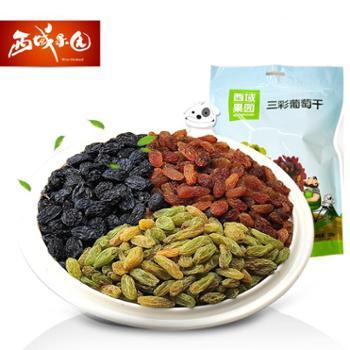 新疆果业西域果园三彩葡萄干300g零食混合独立包装新货