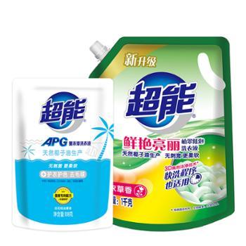 1kg超能植翠洗衣液(鲜艳亮丽)+108g超能APG薰衣草洗衣液(D)