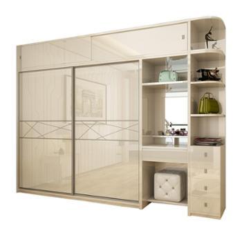 现代简约推拉门衣柜经济型板式木质收纳柜子组合卧室整体衣柜