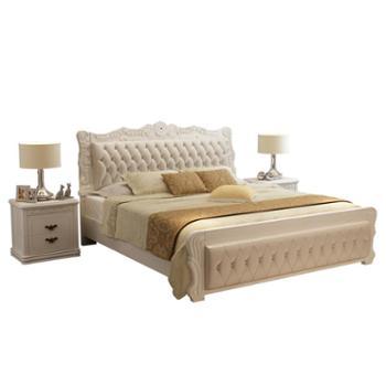 双人床 主卧现代简约白色公主床1.8米实木床简欧卧室皮床
