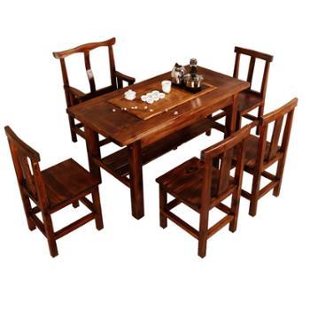 功夫茶桌椅组合茶台喝茶桌椅组合实木仿古茶艺桌茶几茶具桌套装