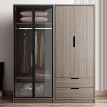 衣柜北欧现代板式大衣柜组装平开门储物玻璃门衣橱4门衣柜木纹灰色