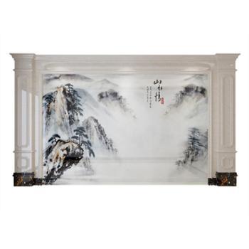 新中式微晶石电视背景墙瓷砖客厅沙发现代简约山水情影视墙800*800