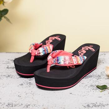 宝人/boree夏季女高跟松糕厚底坡跟绸缎花布凉拖鞋夹脚沙滩人字拖