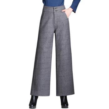 沫沫依莉时尚格纹气质高腰直筒宽松阔腿休闲裤MQJ8807