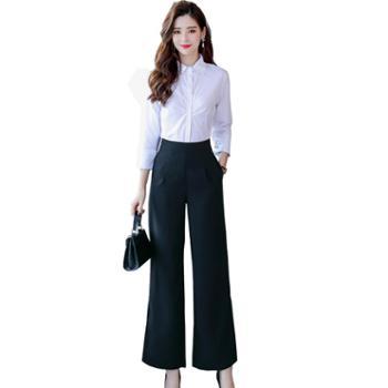 沫沫依莉女装长款阔腿裤时尚纯色高腰优雅气质开叉裤XYFS7001