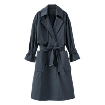 垂柳单风衣女中长款韩版2018新款黑色过膝薄款工装外套