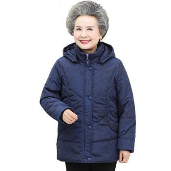 茧竹森中老年羽绒服女冬装新款棉服时尚连帽奶奶保暖外套JLS865