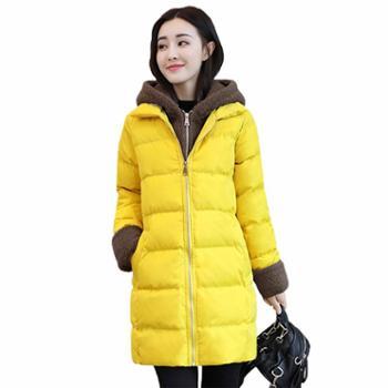 沫沫依莉棉衣女装外套冬季新款潮流韩版时尚加厚连帽保暖棉服HFGA15