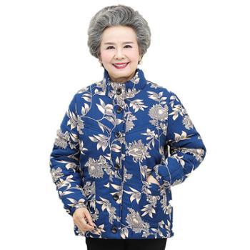 茧竹森2018冬装新款中老年保暖外套60-70岁奶奶装老人棉衣棉袄JLS128