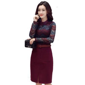 沫沫依莉蕾丝连衣裙中长款2019春款时尚韩版气质长袖一步裙子ZMFS6672