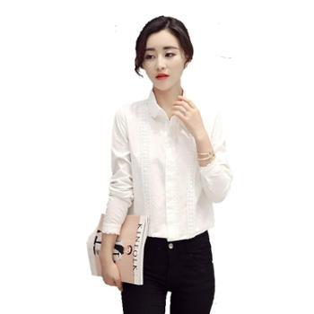 沫沫依莉长袖修身纽扣休闲时尚气质纯色衬衫KFG6013
