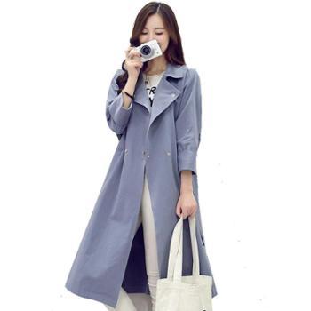 沫沫依莉2019新款韩版时尚修身薄款中长款翻领纯色风衣外套BL5006