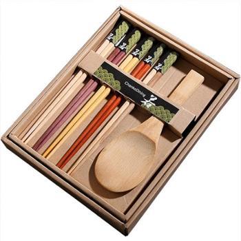 日式天然原木筷子饭勺 无漆无蜡实木筷子饭勺礼盒套装