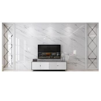 微晶石电视背景墙现代简约客厅仿大理石材拼镜边框造型爵士白瓷砖