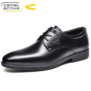 骆驼动感商务正装鞋男牛皮男式皮鞋透气英伦系带低帮单鞋18152