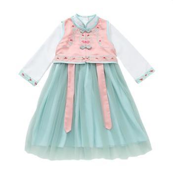 漫露可女童汉服秋装新款唐装中国风超仙连衣裙改良襦裙儿童古装童装