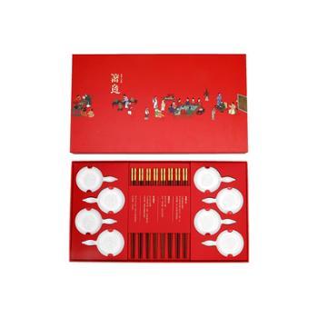 清朴堂 红檀筷子实木中式高档禧福八双套装