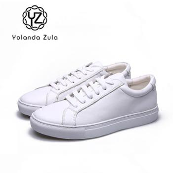 YolandaZula2019款经典牛皮小白鞋情侣款休闲跑步运动鞋系带学生平底板鞋韩版潮流