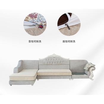 欧式布艺沙发客厅组合整装实木雕花L型大小户型转角沙发