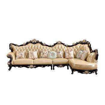 欧式沙发黄牛皮真皮转角黑檀色皮艺沙发实木雕花L型实木拐角沙发